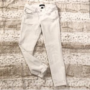 Banana Republic skinny white cropped ankle jeans